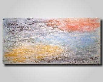 Original Large Abstract painting SALE  - 24 X 48   JMJartstudio- A peace of Summer-Wall art-wall decor -Orange painting