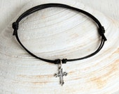 Sterling Silver Cross Bracelet / Cross Anklet (many colors to choose)