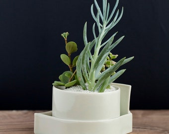 Hand built Porcelain Slab Planters // Orbital Series, medium