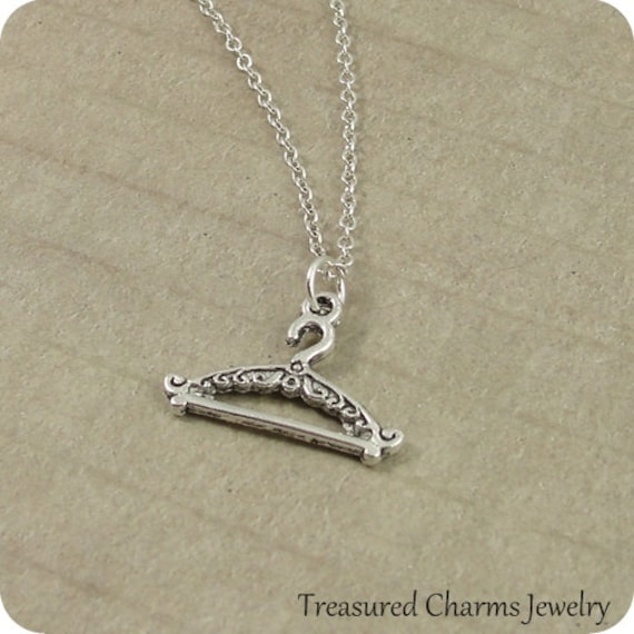 Clothes Hanger Necklace, Silver Plated Coat Hanger Charm on a Silver Cable Chain
