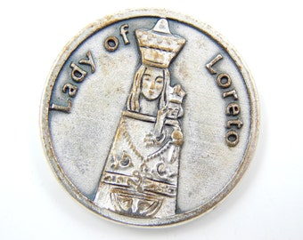 Vintage Our Lady of Loreto Catholic Medal - Religious Medallion - Pocket Medallion - Safe Travel Virgin Mary