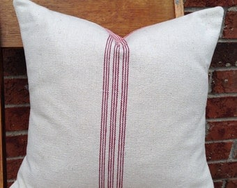 Grain Sack / Ticking Pillow Cover 9 Red Stripes