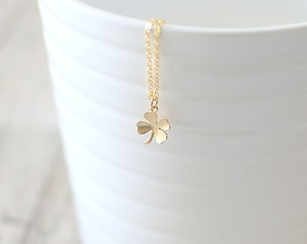 Four Leaf Clover Necklace. Clover Pendant Necklace. Gold Charm Necklace. Shamrock Necklace. Good Luck Necklace. Irish Clover Necklace.