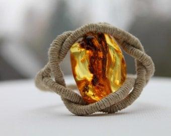 Huge Honey Baltic Amber Bracelet / Eye of Sauron / Natural Eco Friendly Jewelry Zen / Pure Organic Linen / OOAK Raw Stone / Gift For Her