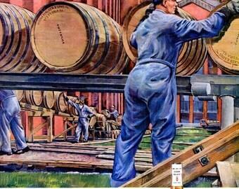 1945 WWII Imperial Whiskey Hiram Walkers Liquor & Bendix Advertisement Ads Print Poster Sign Bartender Bar Pub Tavern Wall Art Home Decor