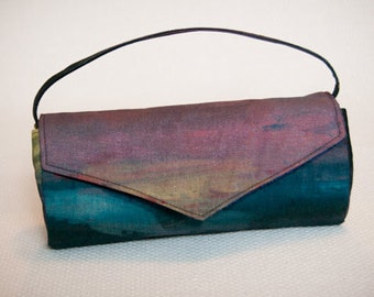 Clutch handbag Purse, Unique Evening Bag, Handprinted Colorful Small Purse, Ombre Trend Handbag