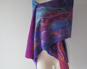 Felted scarf,  Blue felt scarf, Purple scarf   warm winter scarf, Wool  Blue  wool shawl, women felt shawl by Galafilc