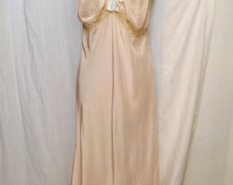 Vintage 1930s 40s Palest Pink Rayon Satin Nightgown with Lace Straps and Insets SZ 14/16