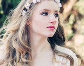 wedding flower bridal hair accessory white roses hair wreath silk headpiece white silk flower