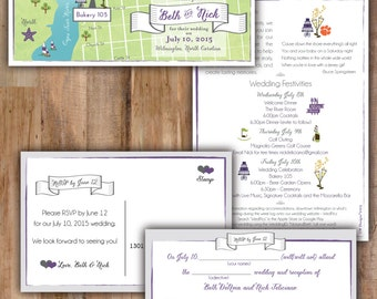 Wilmington, North Carolina Wedding Map Invitation & Mad Lib RSVP