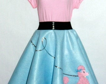 Gorgeous Ladies 3pc Patty Poodle Skirt Outfit Your Choice of Size and Color S-M,L-XL,2X-3X