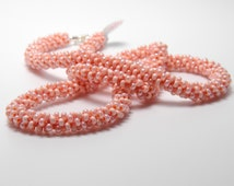 Peach Spiral Kumihimo Braided Necklace
