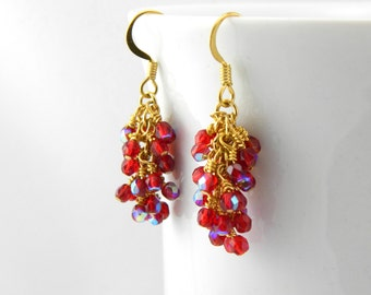 Iridescent Ruby Glass Dangle Earrings, Ruby AB Earrings