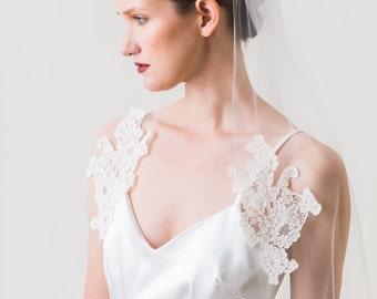 Bridal Wedding Veil, Corded lace veil, Alencon Lace Veil, Finger Tip Wedding Veil, Bridal Veil, Single Layer Veil, Corded Lace Veil