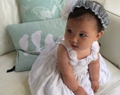 "Fluffy White Baby Girl Headband 12"" 6 - 9 months Gray band"