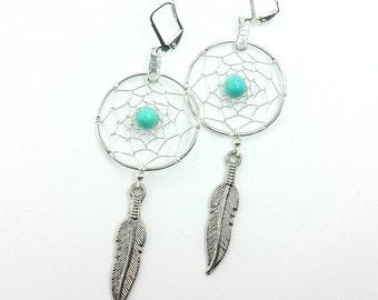 Dreamcatcher Earrings/ Silver Dreamcatcher/ Silver Dangle Earrings/ Silver Earrings/ Tribal Earrings/ Long Feather Earrings/ Silver Feather