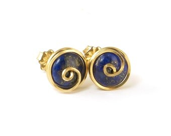 Blue Lapis Gold Stud Earrings, Royal Blue Lapis Lazuli Gemstone Post Earrings