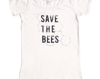 Save the Bees Shirt - Womens Scoop Neck - Organic Cotton Shirt - Bamboo -  xs S M L XL 2xl - Clothing -Tshirt - bug