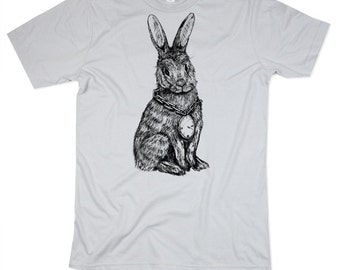 Mens Rabbit TShirt - Silver Rabbit Shirt - HIPHOP - Mens Basic Crew Neck - Small, Medium, Large, XL, 2XL