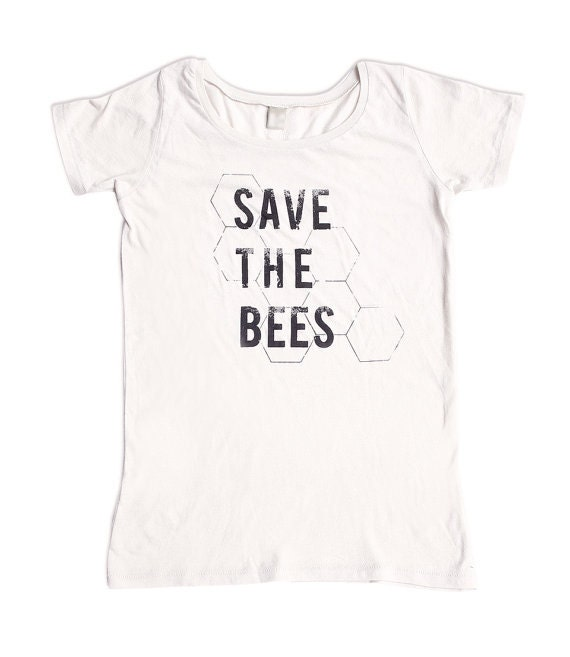 Save the bees shirt womens scoop neck organic cotton