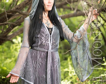"""LIMITED EDITION: The """"Lady of the Lake"""" Silver Blue Lace Priestess Cloak w/ Hood by Opal Moon Designs (Size S-XL)"""