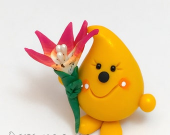 Parker Holding a Lily - Polymer Clay Character Figurine