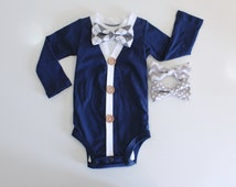 Navy Baby Boy Clothes. Cute Baby Outfit. 12m. 9m. Photoshoot. Baby cardigan bow tie. Baby bowties. Navyand grey gray