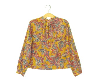60s Ascot Blouse * Vintage 60s Shirt * 1960s Paisley Blouse * XL