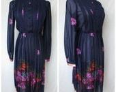 1970s Navy/Floral Secretary Dress, Semi-Sheer, Small/Medium