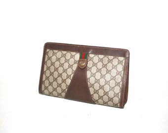 GUCCI Accessory Collections Vintage Clutch Brown Handbag Monogram Canvas Leather Web Bag - AUTHENTIC -