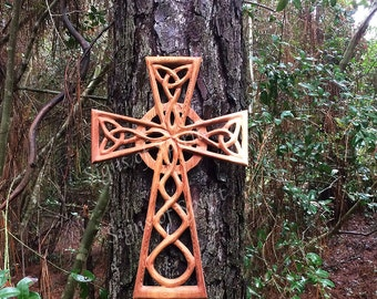 Large Woven Celtic Cross with Trinity Knots and Eternal Weave-Wood Carved Cross