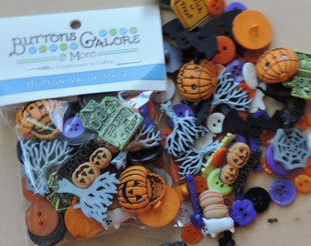 Halloween Buttons, Variety Value Package VP316 by Buttons Galore, Assorted Shapes Sizes and Styles, Crafting, Sewing, Embellishments