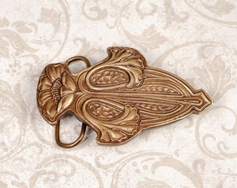 Art Nouveau Belt Buckle - Art Nouveau Buckle - Brass Buckle - Flower Buckle - Brass Flower Buckle