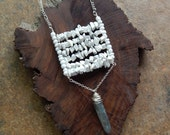 Structural necklace, modern, tribal, ladder necklace, long boho necklace, square, white, blue, layering necklace, howlite, kyanite