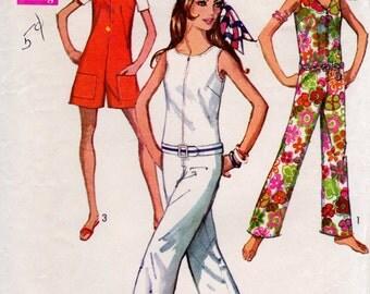 1960s Jumpsuit Romper Pattern - Vintage Simplicity 8198 - Bust 31 1/2