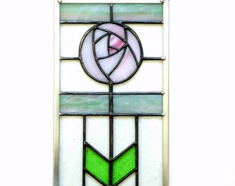 Rose suncatcher stained glass panel, Victorian rose panel, modern rose, pink and green, abstract rose suncatcher, Summer home decor