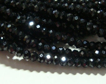Sparkling Black Spinel Micro Faceted Rondelles, AAA, 2.5mm, Full Strand - Sale - Reduced from 29.00