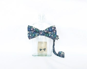 Janis - Blue Floral Men's Pre-Tied Bow Tie or Self-Tied Bow Tie