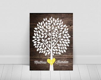 Wedding Guest Book-Tree Wedding Guest Book-Alternative Wedding Guest Book-Printable-Multiple Size and Color Choices-134 leaves