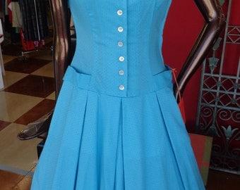 Vintage 1950s Sue Brett Turquoise Blue Shaggy Bark Dotted Dress