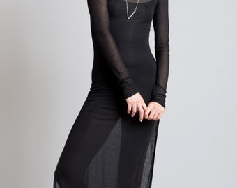 Long Black Tunic / Long Sleeve Shirt / Sheer Blouse / Black Top / Stylish Tunic / Long Top / Marcellamoda - MB0263