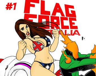 Flag Force Australia Digital Comic Book issue 1 Team Cover by Boo Rudetoons