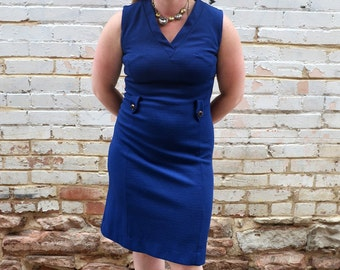SALE vintage 60s navy blue dress / sleeveless tank, shift dress, vneck, summer, royal blue, gold buttons, midi length, bring it on home
