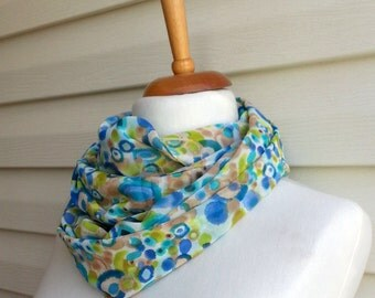 Mothers Day Gift Bubbles infinity scarf, Gift For Mom, Chiffon Scarf, Lightweight Spring Fashion Under 20, Multicolor Scarf, Blue