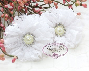 "2 pcs Pure WHITE 2.5"" inch Ballerina LACE Shabby Ruffled Flowers w/ Pearl Rhinestone, DIY applique hair Supplies accessories"