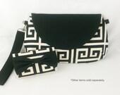 SALE: Greek Key Purse Stripe Clutch Black White Handbag cotton vegan modern