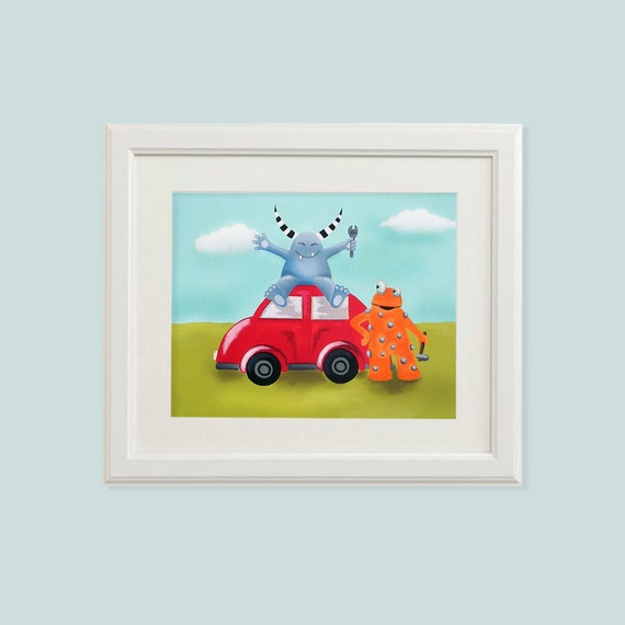 Nursery prints boy, Monster print, Toddler art, Kids art print, Boy nursery prints, Art for boys room, Let the wild rumpus start, Car print