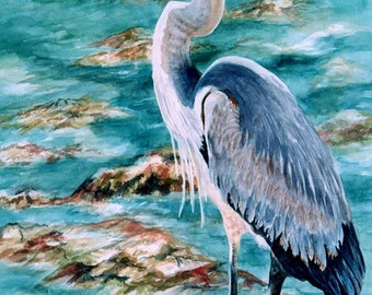 Great Blue Heron ACEO Watercolor print 823 Florida Shorebird Blue watecolorsNmore Coastal
