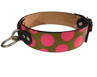 Circus Dog Collar Handmade Leather Screenprinted w Carousel Animals and Polka Dots