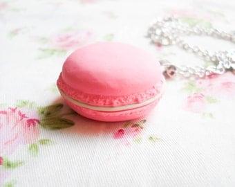 Pink Macaron Necklace, Macaroon Necklace, Macaron, Pink, Pastel, Kawaii, Sweet Lolita, Pendant, Polymer Clay, Jumbo Macaron, Macaroon